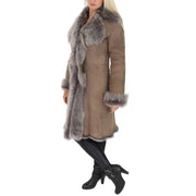 Womens Luxurious Toscana Long Coat Real Sheepskin Pamela Taupe Full