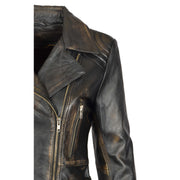 Womens Biker Leather Jacket Slim Fit Cut Hip Length Coat Coco Rub Off Feature 1