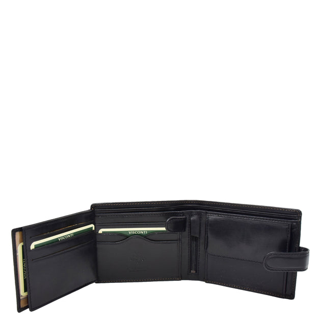 Mens Genuine Italian Leather Snap Closure Wallet AVZ5 Black Open 3