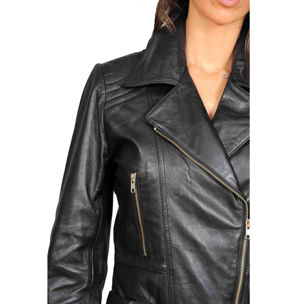Womens Fitted Mid Length Biker Leather Jacket Hannah Black Feature 1
