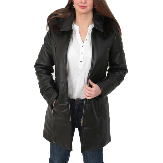 Womens Quilted 3/4 Long Parka Leather Coat with Hood Kelly Black Open
