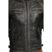 Gents Washed Biker Leather Jacket Django Rub Off Feature 1