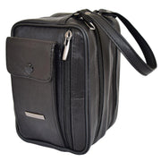Gents Real Leather Wrist Bag Clutch Travel Black Bag Mason Stand