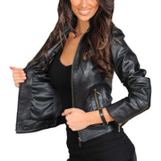 Womens Fitted Leather Biker Jacket Casual Zip Up Coat Jenny Black Lining