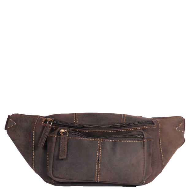 Real Leather Bum Bag Money Mobile Belt Waist Pack Travel Pouch A072 Dark Brown Front