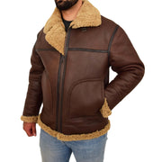 Mens Brown Real Sheepskin B3 Flying Bomber Jacket Shearling Aviator Pilot Coat Larry Front 2