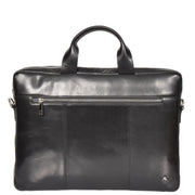 Laptop Briefcase Real Leather Business Bag Messenger Satchel Black Nice Front