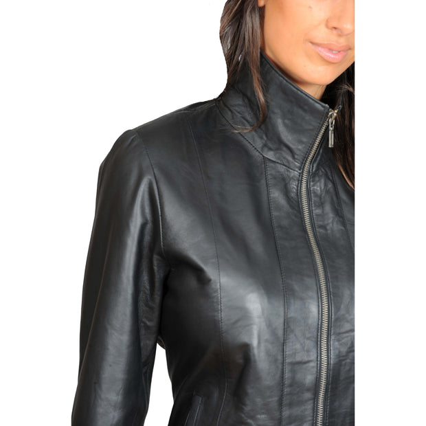 Womens Classic Fitted Biker Real Leather Jacket Nicole Black Feature