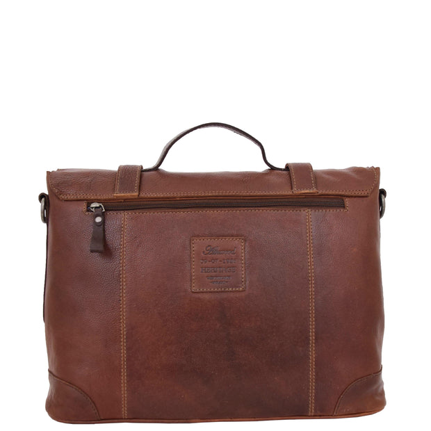 Mens Real Brown Cowhide Leather Briefcase Vintage Satchel Buck Back