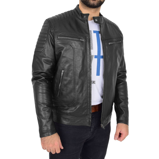 Trendy Genuine Soft Leather Biker Zipper Jacket For Men Rider Black Front 1