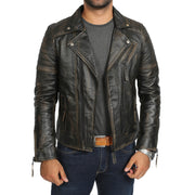 Mens Real Leather Biker Jacket Vintage Black Rub Off Slim Fit Coat Max