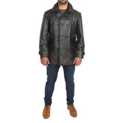 Mens Trench Leather Fitted Reefer Military Overcoat Ernest Brown Full