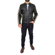 Mens Black Leather Biker Casual Contrasting Stripes Jacket Butch Full