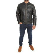 Mens Biker Style Leather Jacket Vintage Rub Off Effect Matt Brown full view