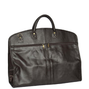 Genuine Soft Leather Suit Carrier Dress Garment Bag A173 Brown Back