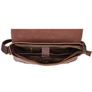 Real Leather Cross Body Messenger Shoulder Bag Luxor Brown Open