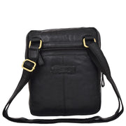 Genuine Black Leather Cross Body Bag Rugged Vintage Flight Bag Joel Back