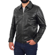 Mens Leather Jacket Genuine Soft Black Zip Fasten Box Style Sean
