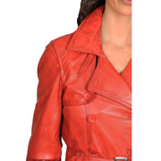 Womens Soft Leather Trench Coat Olivia Red Feature 1