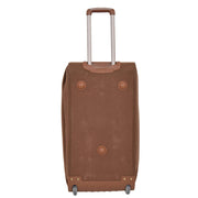 "Wheeled Holdall 30"" Large Camel Faux Leather Travel Duffle Bag Swoose Back Stand"