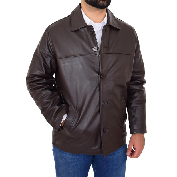 Gents Real Leather Button Box Jacket Classic Regular Fit Coat Luis Brown