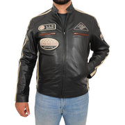 Mens BLACK Leather Biker Jacket Slim Fit Motor Sports Badges Coat Wayne Front