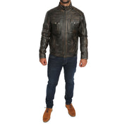 Mens Fitted Washed Biker Vintage Leather Aron Rub Off Full