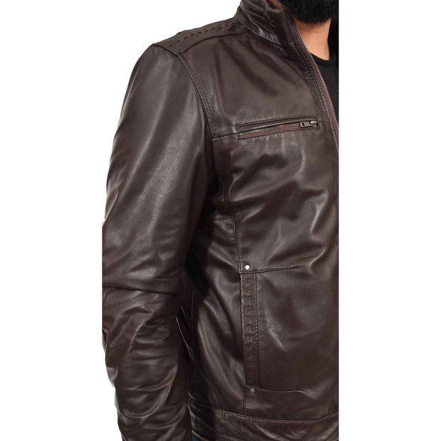 Mens Genuine Leather Biker Jacket Fitted Zip Up Coat Felix Brown Feature