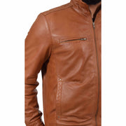 Mens Genuine Leather Biker Jacket Fitted Zip Up Coat Felix Tan Feature
