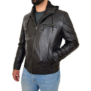 Mens Real Black Leather Hooded Jacket Sports Fitted Biker Style Coat Barry Front Side 1