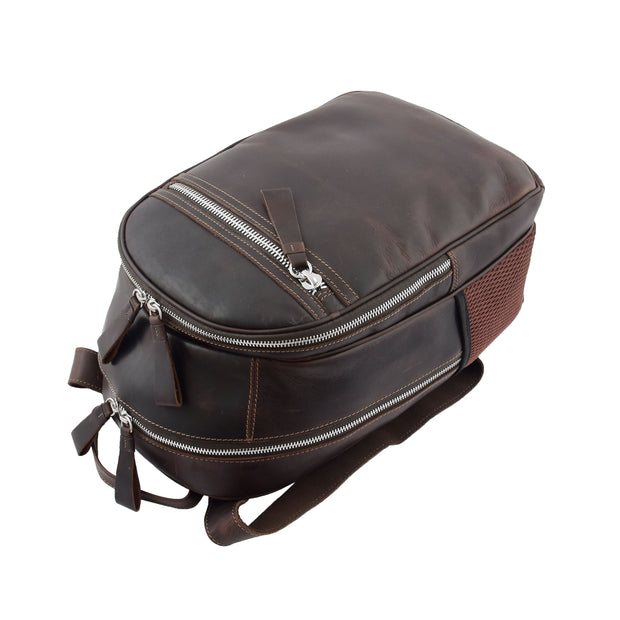 High Quality Genuine Brown Leather Backpack Large Size Work Casual Travel Bag Trek Top