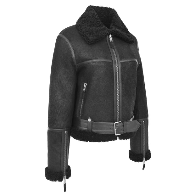 Womens Luxurious Genuine Sheepskin Flying Jacket Real Black Shearling Harriet Front 2