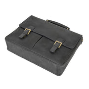 Mens REAL Leather Briefcase Vintage Look Satchel Shoulder Bag A167 Navy Back Letdown