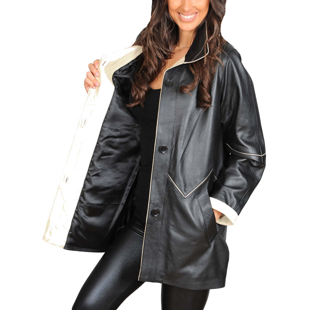 Ladies Classic Parka Real Leather Coat Trim Jacket Lulu Black-Beige Lining