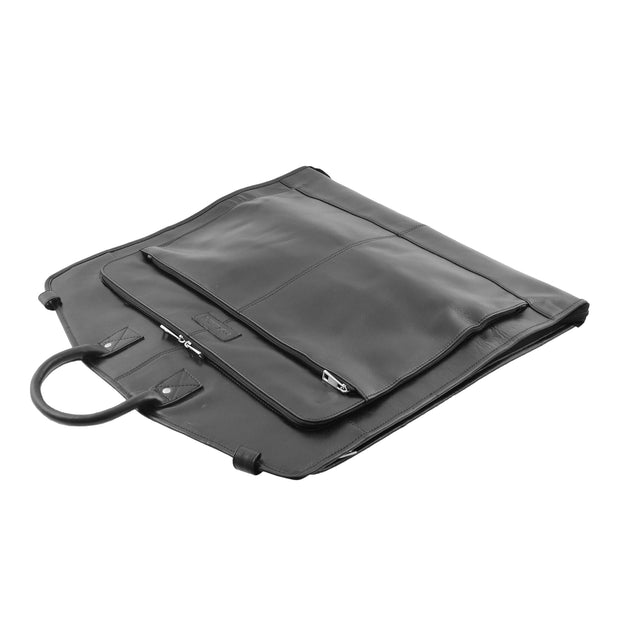 Exclusive Leather Slimline Travel Garment Bag Suit Carrier Dress Cover Remy Black Letdown