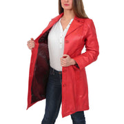 Womens 3/4 Button Fasten Leather Coat Cynthia Red Lining