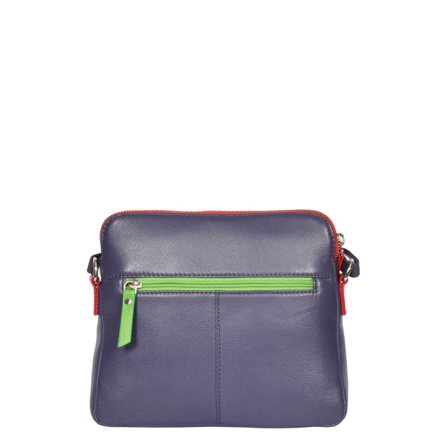 Womens Soft Leather Cross Body PURPLE Sling Shoulder Bag Polly Back