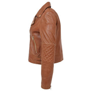 Womens Short Fitted Cognac Biker Style Real Leather Jacket Ayla Side