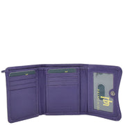 Womens Trifold Genuine Leather Purse Compact Clutch Style Wallet AL16 Purple Open 1
