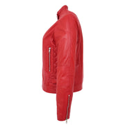 Womens Soft Red Leather Biker Jacket Designer Stylish Fitted Quilted Celeste Side