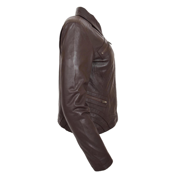 Ladies Soft Leather Jacket Fitted Collared Zip Fasten Biker Style Leah Brown Side