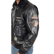 Mens Pilot Leather Jacket Air Force Badges Bomber Coat Luca Black Feature 2