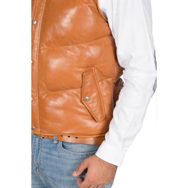 Mens Quilted Leather Waistcoat Body Warmer Gilet Jeff Tan Feature