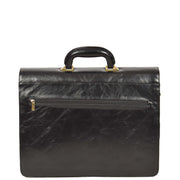 Mens Leather Look Briefcase Office Business Executive Bag A5071 Black Back