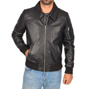 Mens Real Cowhide Bomber Leather Jacket Pilot Jacket Lance Black Front