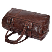 Brown Luxury Leather Holdall Travel Duffle Weekend Cabin Bag Targa Front Letdown