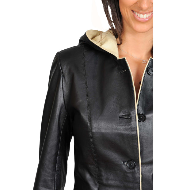 Womens Real Leather Blazer Jacket Mid Length Hooded Coat Eva Black Feature
