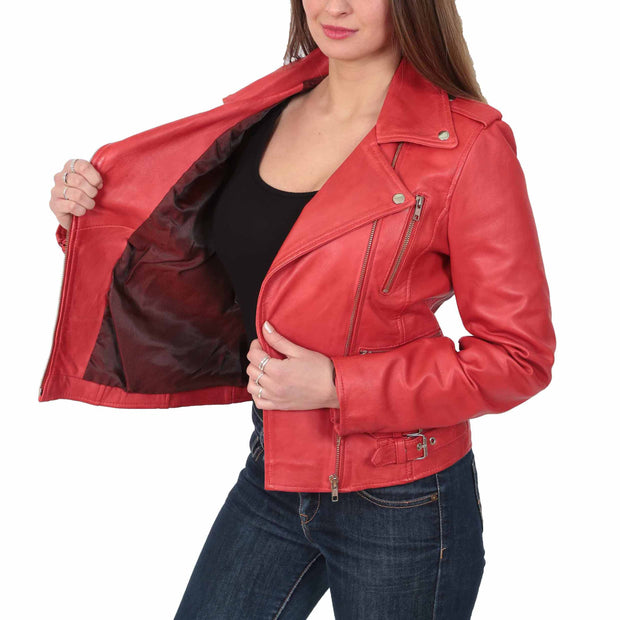 Womens Trendy Biker Leather Jacket Beyonce Red Lining