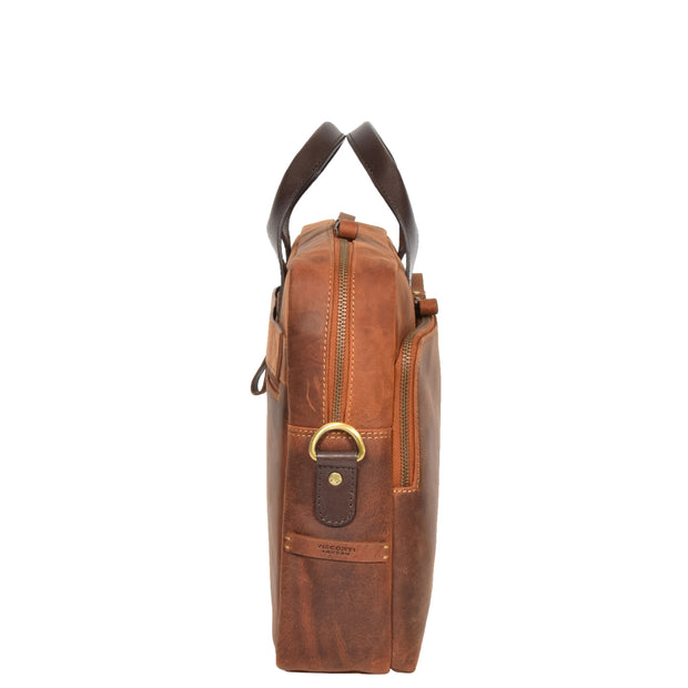Leather Briefcase Vintage TAN Messenger Shoulder Bag Hanoi Side