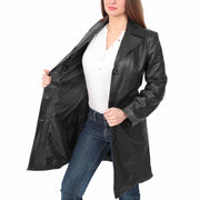 Womens 3/4 Button Fasten Leather Coat Cynthia Black lining